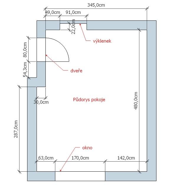 navrhy interiéru, Pudorys pokoje