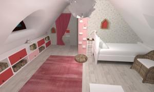 Render Dětský pokoj - pohled od toaletky