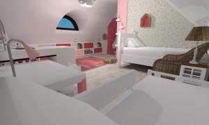 Render Dětský pokoj - pohled od malé postele