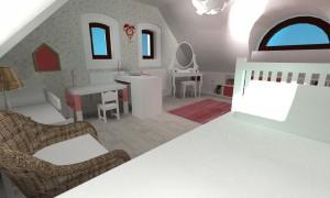 Render Dětský pokoj - pohled od velké postele